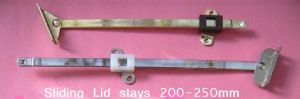 SLIDING Lid STAY, Toy/blanket Box, flap, Cupboard doors. BRASS/CHROME. 200/250mm. 1,2 & 10 Pack